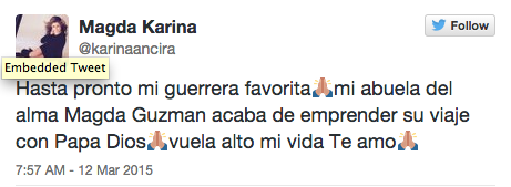 Fallece Primera Actriz Magda Guzman